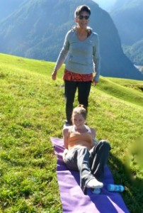 Morning Yoga on Tombol, a meadow in the Swiss Alps